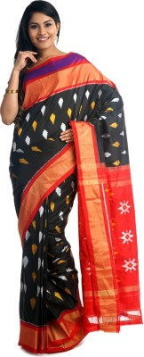 BlackBeauty Woven Pochampally Handloom Pure Silk Saree(Black, Red) at flipkart