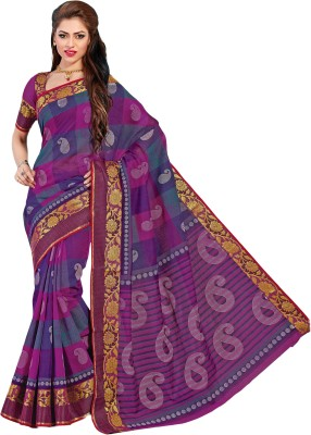 M.S.Retail Printed Gadwal Cotton Saree(Purple) at flipkart