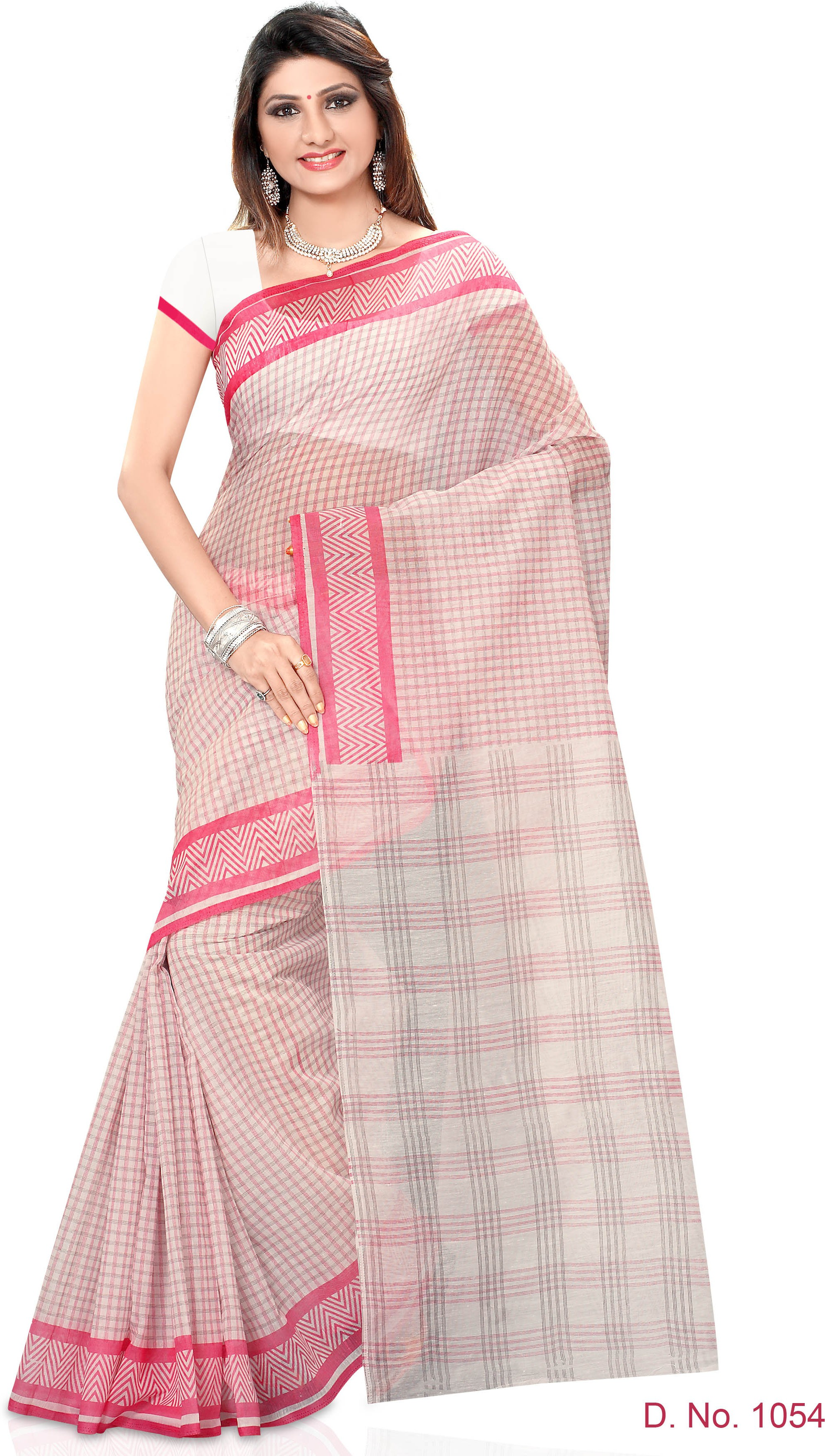 Indianbeauty Striped, Printed Fashion Cotton Sari(White, Pink)
