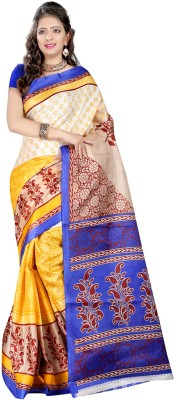 Glamoroussurat Fashion Printed Bollywood Handloom Raw Silk Sari