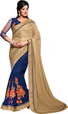 Queenbee Embellished, Embriodered, Self Design Fashion Net Sari