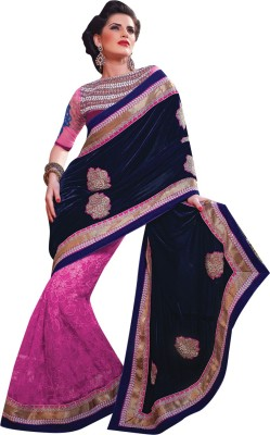 Allol Embriodered Fashion Velvet, Net Sari