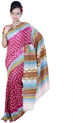 Fashionvibes Solid Murshidabad Handloom Raw Silk Saree(Multicolor) at flipkart
