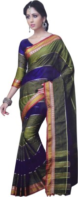 Neshkaar Striped, Solid, Self Design, Plain Bollywood Cotton Sari
