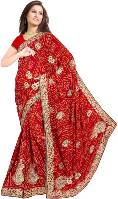 Muta Fashions Embriodered Bandhani Synthetic Georgette Sari