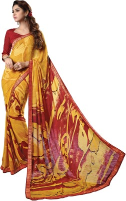 Hiba Couture Printed Daily Wear Handloom Georgette Sari