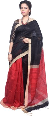 Tanjinas Plain Fashion Handloom Silk Linen Blend Sari