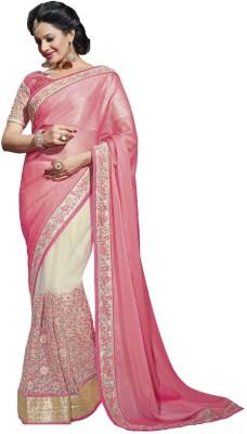 Fashion Forever Floral Print, Embriodered Fashion Net, Chiffon Sari