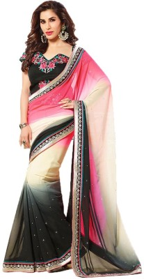 Shoppershopee Embriodered Fashion Georgette Sari