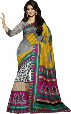 Ajamukhi Printed Bhagalpuri Printed Silk Saree(Multicolor) at flipkart