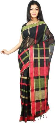 Womilo Checkered Hand Batik Cotton Sari