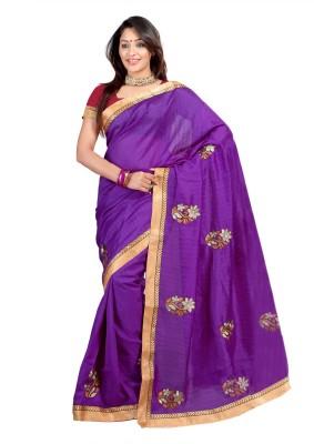 Chandra Silk Mills Embriodered Bhagalpuri Art Silk Sari