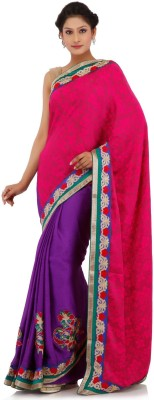 Chhabra 555 Self Design Fashion Crepe Sari
