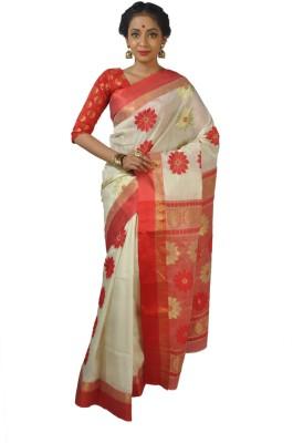 Rudrakshhh Dhakai Embriodered Tant Handloom Silk Sari