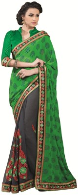 Kashish Lifestyle Self Design, Solid Fashion Georgette, Chiffon Sari