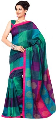 GD Printed, Checkered Bollywood Art Silk Sari