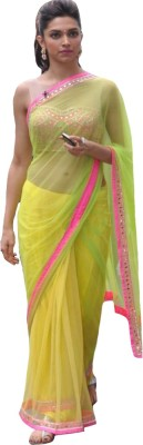 Bollywood Designer Self Design Bollywood Net Saree(Yellow) at flipkart