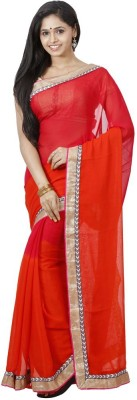 FastColors Solid Bollywood Georgette Sari