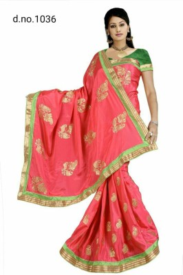 Radhe Fashion Embriodered Fashion Handloom Chiffon Sari
