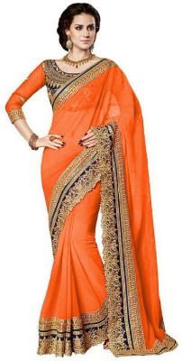 Avsar Prints Solid, Self Design, Printed Fashion Georgette Sari