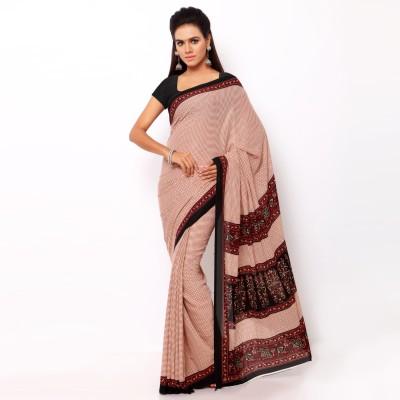 Goodfeel Checkered Daily Wear Crepe Sari