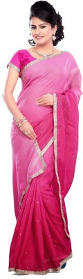 Nairiti Fashions Solid Bollywood Net Sari