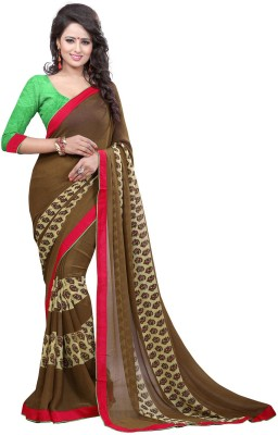 Arya Fashion Solid Bollywood Georgette Saree(Brown) at flipkart