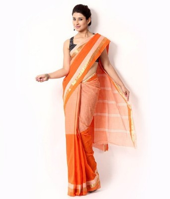 Rudrakshhh Woven Tant Handloom Cotton Saree(Orange, White) at flipkart