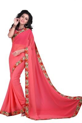 Gunjan Creation Plain Fashion Georgette Sari