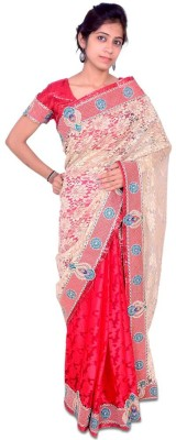 Aifaa Self Design Fashion Net, Brasso Fabric Sari