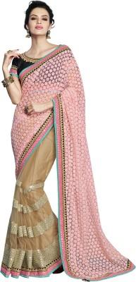 MAHOTSAV Self Design Fashion Net Saree(Pink, Beige) at flipkart