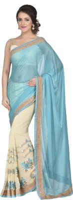 Oomph! Embroidered Bollywood Georgette Sari(Blue)