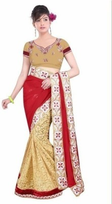 Vivels Embriodered Bollywood Georgette, Brasso Fabric Sari