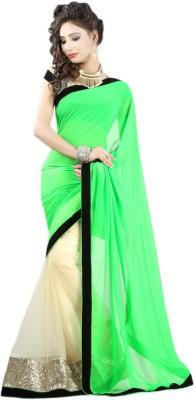 Sanjana2SwarupaFashion Solid Fashion Georgette, Net Sari