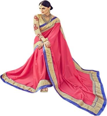 Manish Creation Embriodered, Embellished Bollywood Chiffon, Satin Sari