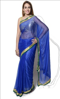 Sharleez Solid Fashion Lycra Sari