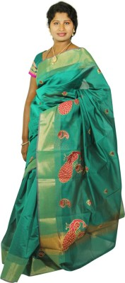 Roopascollection Embriodered Fashion Silk Cotton Blend Sari