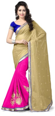 Vaamsi Embroidered Daily Wear Georgette Saree(Beige) at flipkart