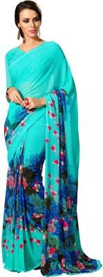 Zemi Graphic Print Fashion Chiffon Sari