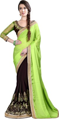 Manthan Embriodered Daily Wear Georgette, Chiffon Sari