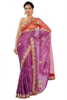 Shri Narayan Fashions Embellished Fashion Brasso Sari
