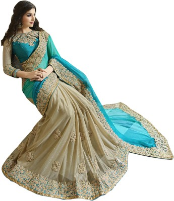 ALS Embriodered Fashion Shimmer Fabric Sari