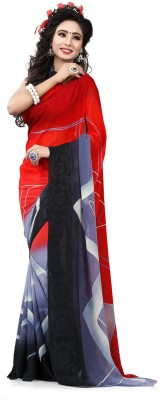 Krishna Prints Striped Bollywood Georgette Sari
