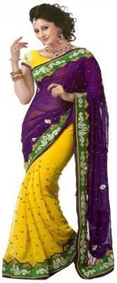 Usha Silk Mills Self Design Fashion Georgette Sari
