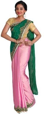 Nav Durga Applique, Embellished, Woven Fashion Art Silk Sari