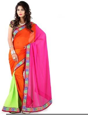 Lime Embriodered Fashion Handloom Georgette Sari