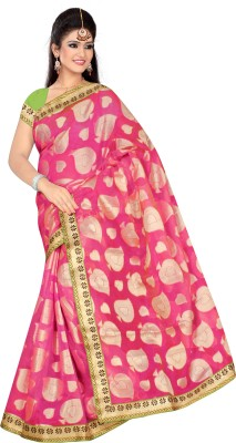 Chirag Sarees Self Design Banarasi Cotton Sari(Multicolor)