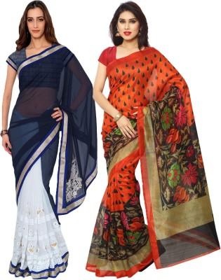 Prachi Silk Mills Embriodered, Printed Fashion Georgette, Art Silk Sari