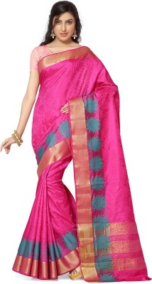Rani Saahiba Self Design Kanjivaram Jacquard, Art Silk Sari(Purple)