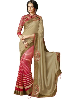 Greenvilla Designs Plain Fashion Silk Sari